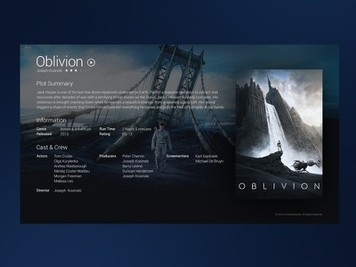 Film Preview ui dark media centre movie preview film oblivion details full screen