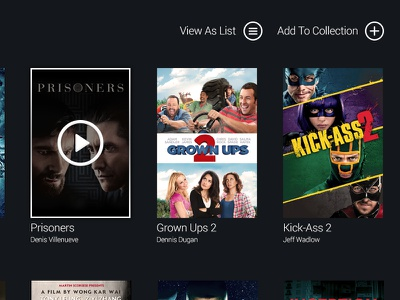 Collection ui dark media collection centre movie preview film prisoners grown ups 2 kick-ass 2