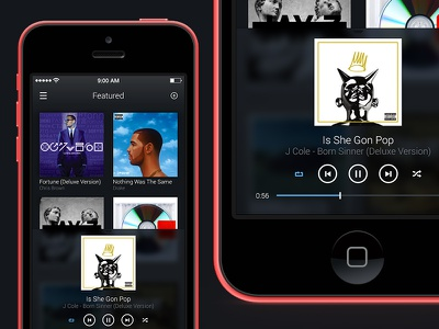 Music Player ui dark music player featured albums play pause repeat shuffle next previous