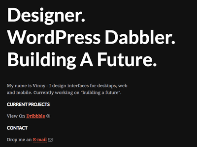 vinnysingh.co ui website dark orange new personal designer wordpress vinny singh vinnysingh