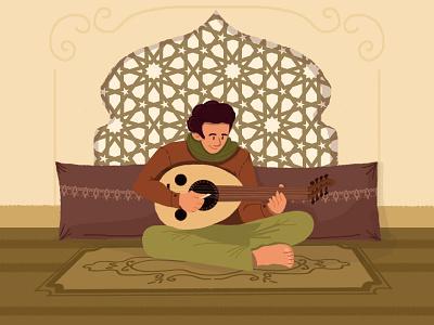 arabic music illustration graphics animation sitting pattern culture heritage man music arab