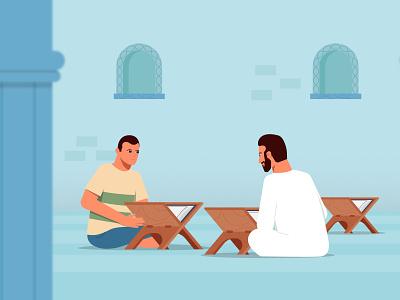 Muslim men teacher learn men flat 2d arab animation motion graphics character illustration