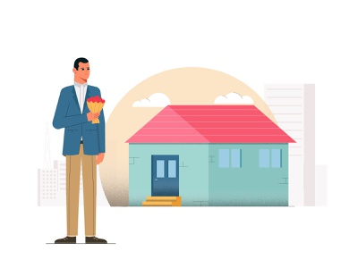 engaged motiongraphics illustration character motion flowers cloud suit man house engaged