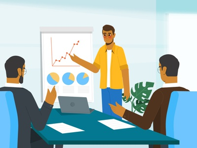 Owner of a start-up company marketing meeting presentation company startup motion graphics character motion 2d illustration