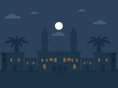 Quiet village night gif fire palm mosque clouds moon quiet 2d graphics motion illustration