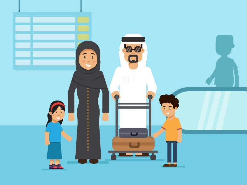 Family vacation arab 2d kids bags airport travel character motion illustration