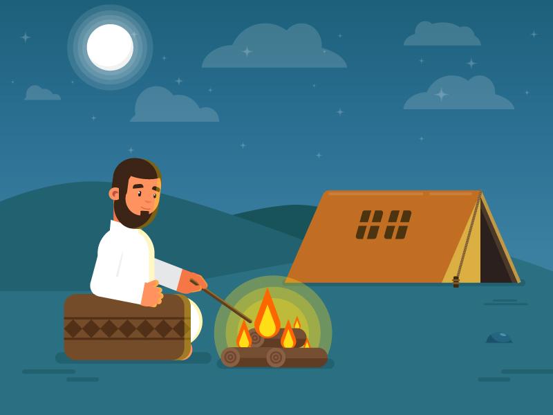 Desert Man night gif fire tent camp clouds moon desert 2d graphics motion illustration