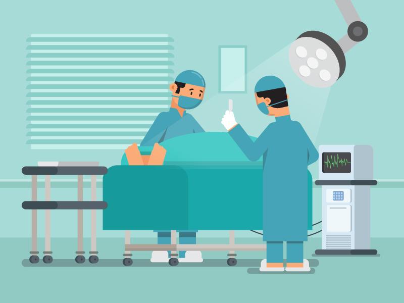 Surgery design character fat patient vector surgeon graphics surgery flat illustraion 2d