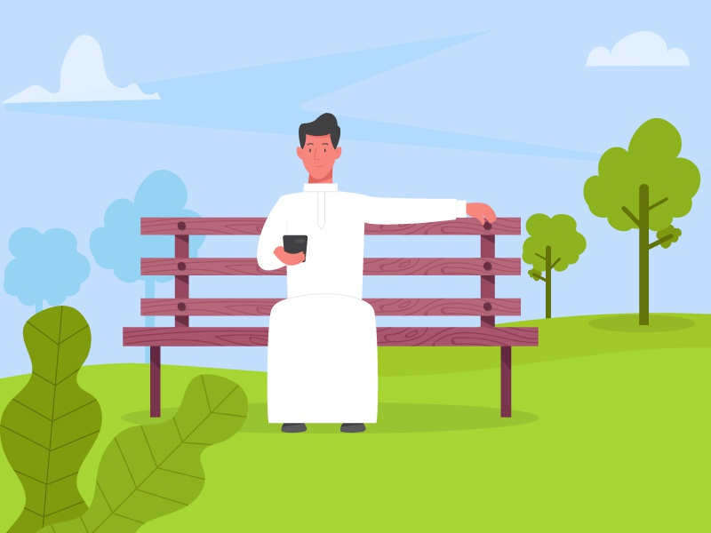 An Arab man in a park clouds trees animation sky character park design arab motion 2d flat illustration