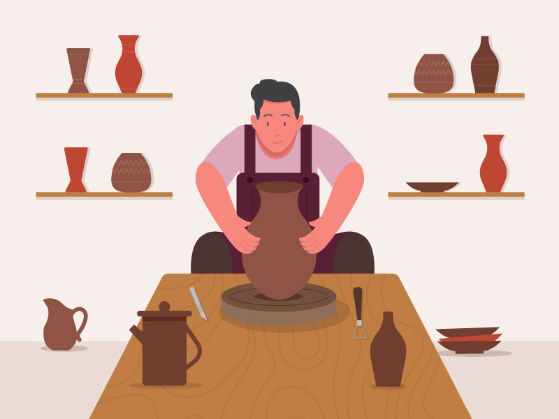 Pottery worker workshop pottery worker motion 2d earthenware flat character illustration