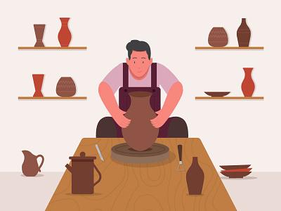 Pottery worker workshop pottery worker motion 2d earthenware flat character illustration