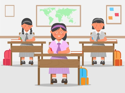 Little Students learning desk 2d character motion illustraion graphic design class books cute study school kids girls