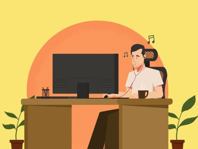 me plant design flat character 2d draw pc music work office illustration