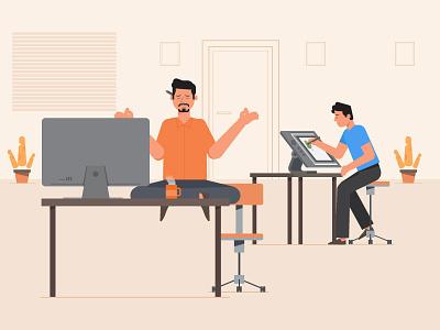 Creatives room orange creative office design animation graphics flat character motion 2d illustration