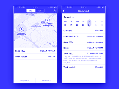 Klein blue map time tracker blue ios app
