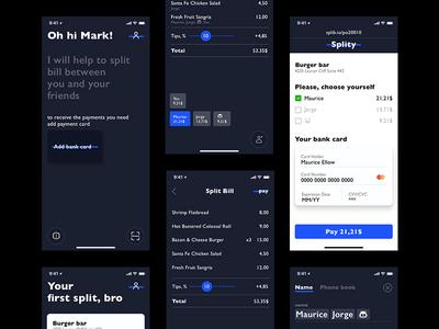 Split bill pay bill check split dark application ux ui ios app