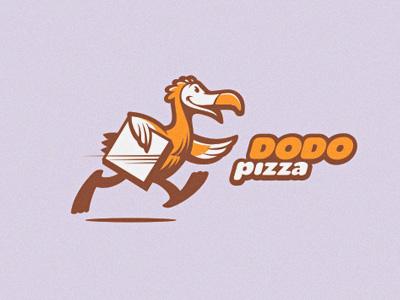 Dodo Pizza birds animals pizza logo animal illustrations restaurant fast food vector bird letterpress