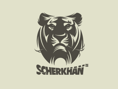 Logo Scherkhan jungle tiger animals logo nature vector cat t-shirt mascot identity arms letterpress