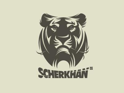 Logo Scherkhan jungle tiger animals logo nature vector cat t-shirt mascot identity arms letterpress