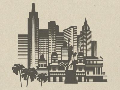 Illustration Las Vegas game t-shirt logo illustration vector casino las vegas liberty city usa architecture building skyscraper screen printing