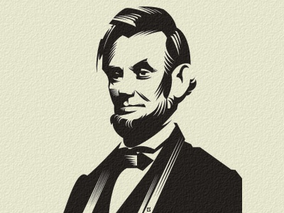 Abraham Lincoln letterpress logo illustration u.s. president print screen letterpress mascot t-shirt america north embossing vector stamping typography texture black head character