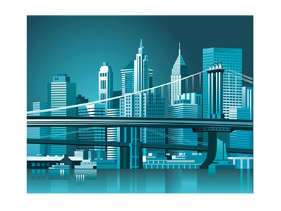 US New York City vector illustration illustrator vector website us print ship restaurant america bridge water skyscraper skyline offset manhattan brooklyn