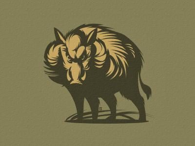 Wild boar Hog hog logo vector illustration nature wild boar forest hunting letterpress
