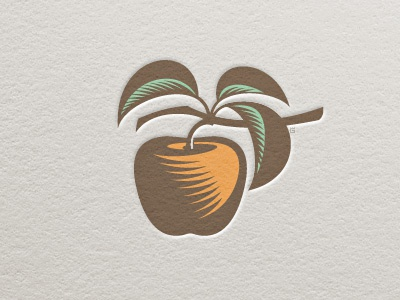 Logo Apple Letterpress color apple fruit garden logo vector illustration letterpress woodcut nature
