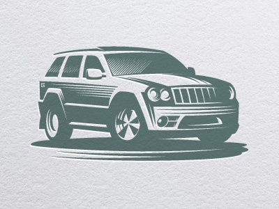 Car jeep auto logo illustration vector vehicle car auto driver transport road off-road automobile drive letterpress t-shirt typography