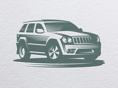 Car jeep auto logo illustration vector vehicle car auto driver transport road off-road automobile drive letterpress t-shirt typography