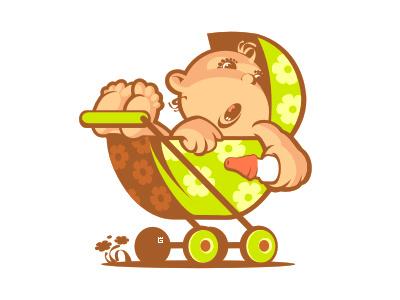 Illustration baby stroller logo illustration vector baby stroller milk