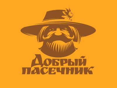 Logo Honey Bee WIP letterpress flower face typography mustache logo vector illustration honey bees