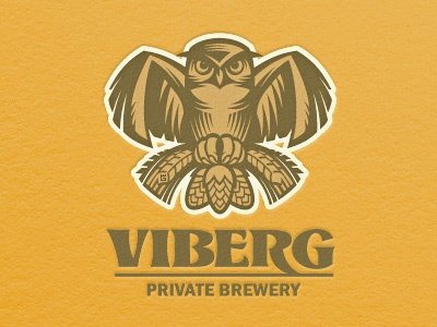 Beer Owl animal owl bird logo vector illustration letterpress typography