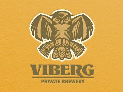 Beer Owl animal owl bird logo vector illustration letterpress typography