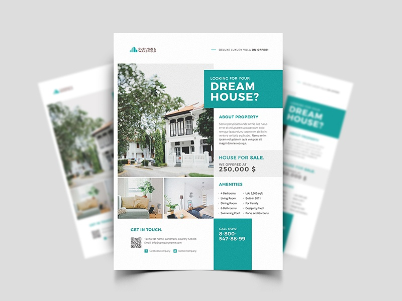 Property Flyer freebie freebies free real estate flyer property flyer poster villa architect apartment home rent sell realtor agent property house open estate real flyer