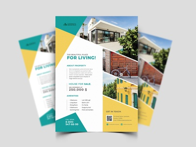Property Flyer freebie freebies free poster villa architect apartment home rent sell realtor agent property house open estate real flyer