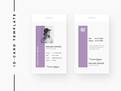 ID Card Template id card design id card template feminine office business minimal employee design abstract brand stationary stationery badge id card