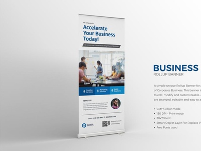 Corporate Business Roll-up Banner roll-up banner conference design conference banner up roll professional signage minimal standy rollup event commercial creative business promotional marketing advertisement