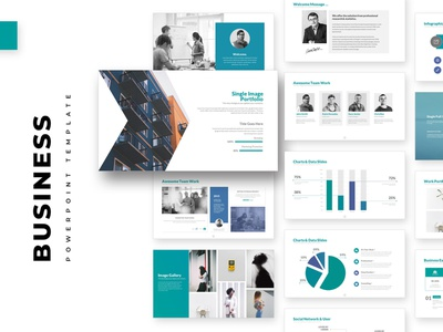 Business PowerPoint Template pitch minimal simple infographic chart
