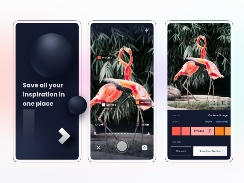 Exploration - save all your inspiration in one place camera capture image inspiration color app moodboard mobile ux ui design