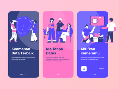 onboarding sebuah aplikasi vector onboarding screen hero walkthrough character onboard collaboration app splash screen mobile ui onboarding illustration