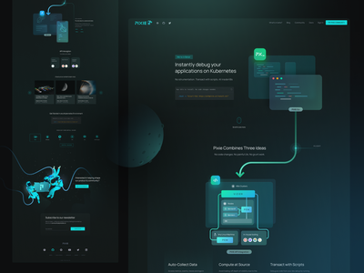 Homepage Concept for Pixie cloud kubernetes character programming ide page web design ui app hero coding code space astronaut landing illustration
