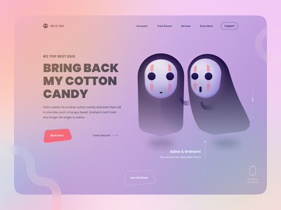 Ghost Agency - No Face - Free Illustration Kit 3d 2d dribbbleweeklywarmup cute web design hero vector halloween ghost spirited away no face web character isometric landing illustration
