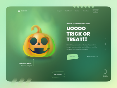 Ghost Agency - The Pumpkin - Free Illustration Kit trick or treat trickortreat halloween design 3d 2d vector dribbleweeklywarmup cute web design pumpkin spooky ghost party halloween landing character hero illustration