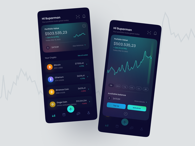 Crypto wallet mobile - first iteration ux ui dark stats chart bitcoin finance wallet ios mobile app dashboard stock market stocks crypto currency trading