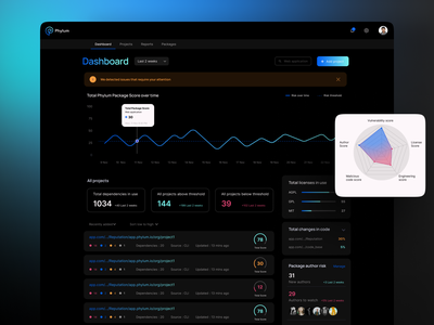Phylum Product Screen - Concept 2 saas analytic security ai machine learning product chart stats ui ux dark dashboard coding illustration