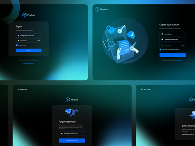 AUTH Login Register screen for Phylum page landing ux ui screen illustration dark glowing hero forgot password dashboard register sign up sign in login auth saas