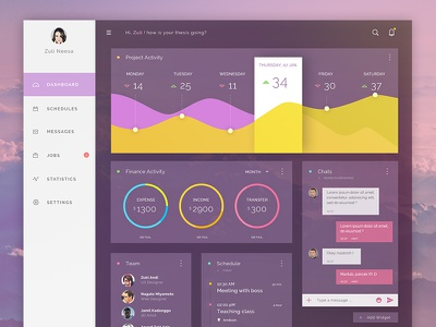 Dashboard Freebie #dailyui 02 schedule purple experience interface user graph chart admin dashboard ux ui daily