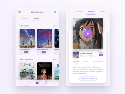 Light Version -  Anime Streaming App manga icon streaming movie app mobile ios ux ui anime