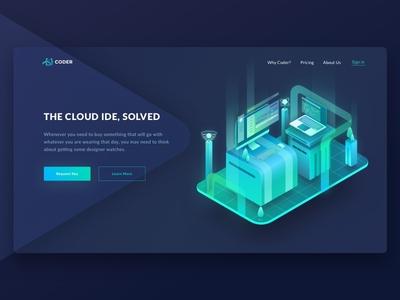 Isometric Illustration for Hero Coder glowing laptop technology mac service cloud illustration isometric